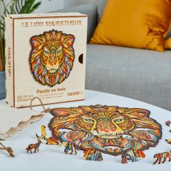 Puzzle bois - Le Lion  Majestueux - Boite en bois