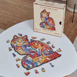 Puzzle bois - Tendre Chat - Boite en bois