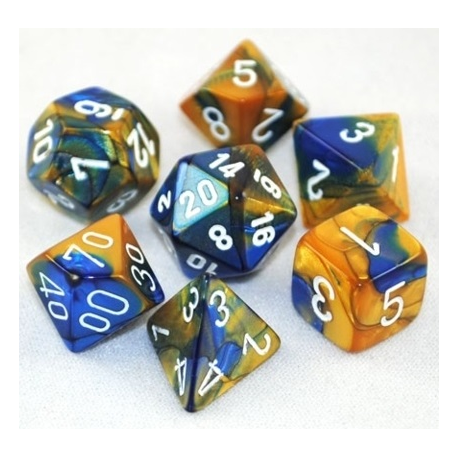 Set de 7 dés - Gemini Bleu-Or/Blanc