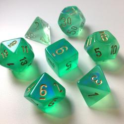 Set de 7 dés - Boréalis Vert/or