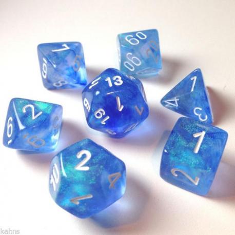 Set de 7 dés - Boréalis Bleu/Blanc
