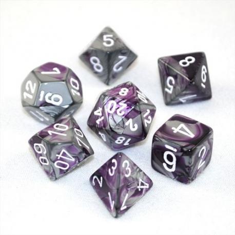 Set de 7 dés - Gemini Violet-Argent/Blanc