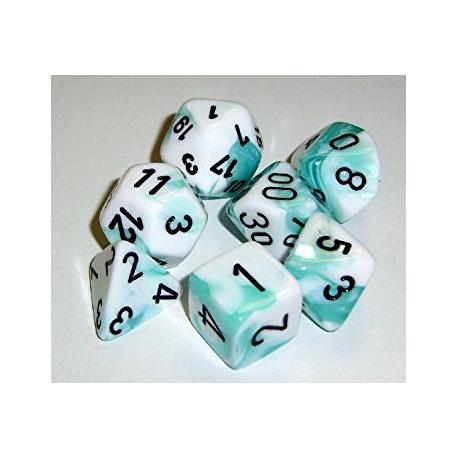 Set de 7 dés - Gemini Turquoise-Blanc/Noir
