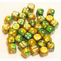 Set de 36 dés - Gemini Vert-Or/Blanc
