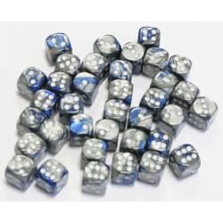 Set de 36 dés - Gemini Bleu-Acier/Blanc