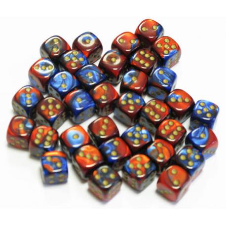 Set de 36 dés - Gemini Bleu-Rouge/Or