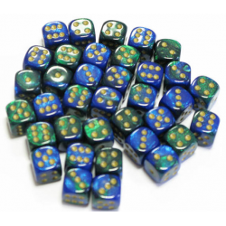 Set de 36 dés - Gemini Bleu-Vert/Or