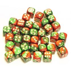 Set de 36 dés - Gemini Vert-Rouge/Blanc