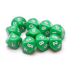 Set de 10 dés à 10 faces - Vert/Blanc