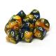 Set de 10 dés à 10 faces - Gemini  Bleu-Jaune/Blanc